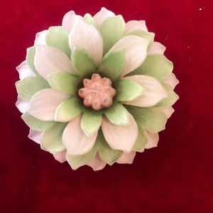 Vintage green pink resin flower